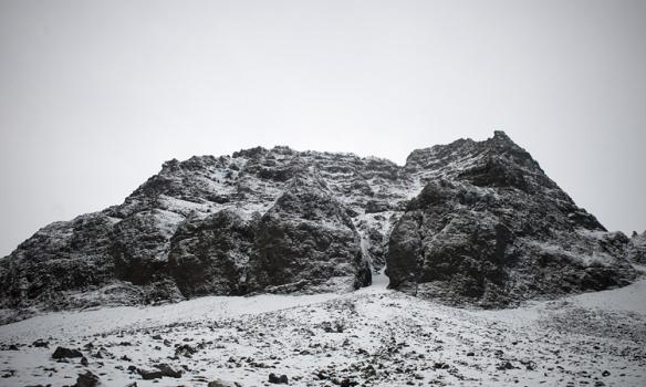 Þetta er gilið sem við klifruðum í á föstudeginum. Þarna inni í skorunni eru 3 leiðir.