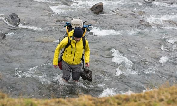 Vaða þurfti eina á á niðurleiðinni