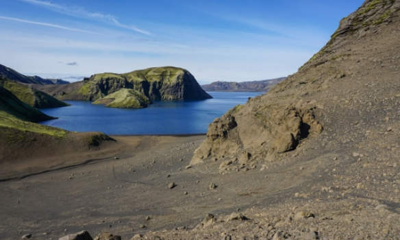 Hér var mjög laus sandbrekka, eftir hana þurfti að hella úr skóm