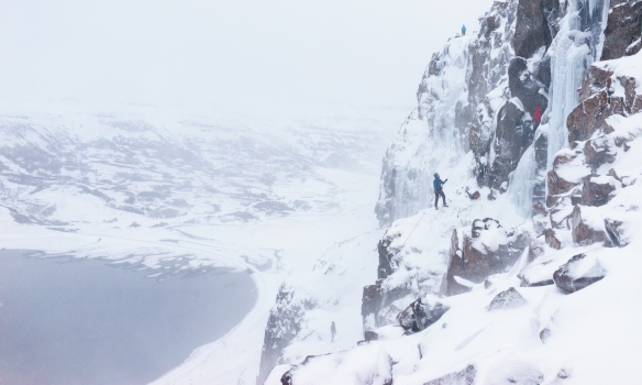 Margar leiðir voru klifraðar þennan dag