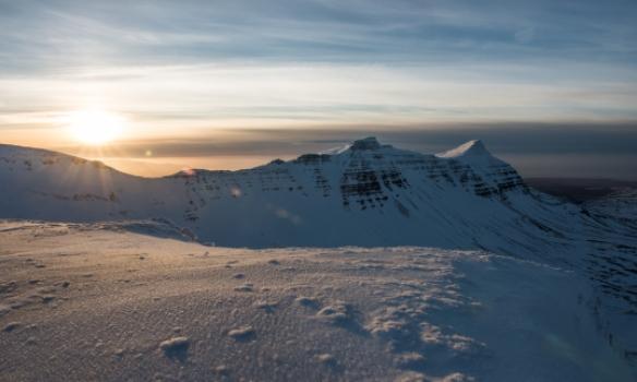 Á toppi Skessuhorns, horft á Skarðshorn og Heiðarhorn