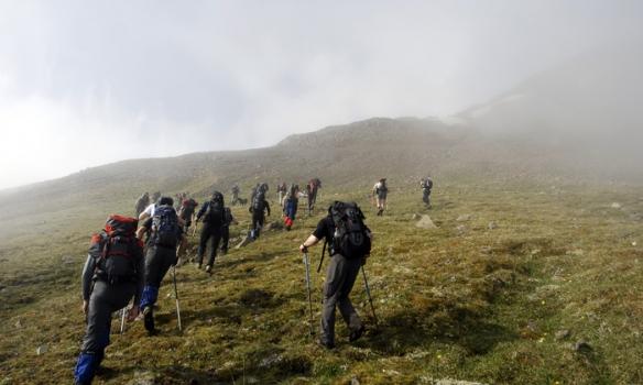 Hópurinn að leggja af stað frá Skíðahótelinu Hlíðarfjalli.