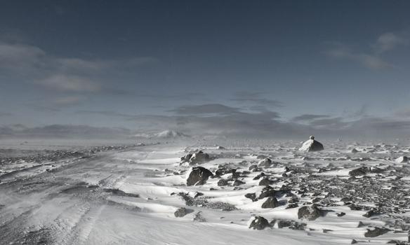 Á leið í Kaldadalinn, sunnarlega þar sem snjórinn var í lágmarki.