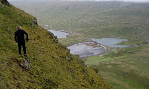 Hér erum við á leiðinni niður, þetta er bratt og gott og því er maður enga stund niður ...