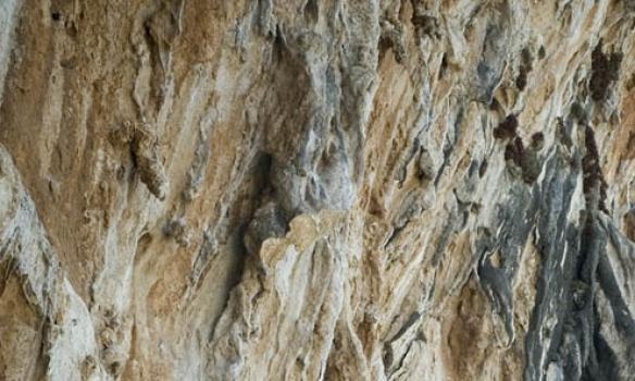 Hér er Addi að klifra leiðina Monahiki Elia á Grande Grotta svæðinu sem er víst mest ljósmyndaða klifursvæði í heimi.
