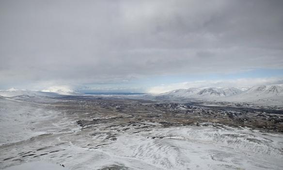 Skagafjörðurinn. Tekin frekar vítt, en við sáum vel í Drangey áður en skýin heilsuðu uppá okkur.