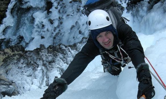 Skítkaldur í 14° frosti að klifra.