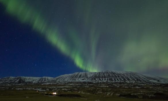 Norðurljósin í Skagafirði á leiðinni heim