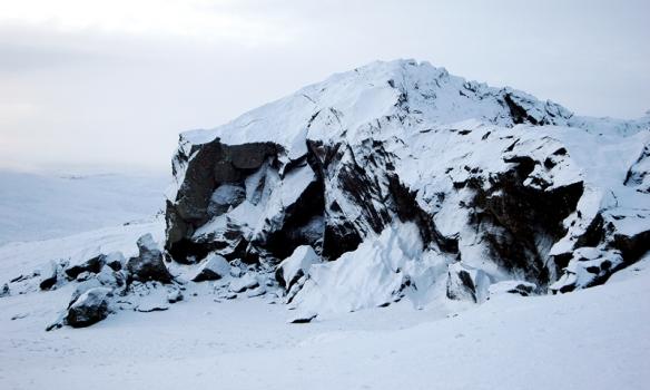 Hér er einn af steinunum sem við stukkum uppá á leiðinni.