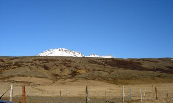 Hér lagði ég bílnum, fjallið í baksýn er Syðstasúla (1093m).