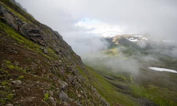 Alveg að koma niður í Bæjardal.