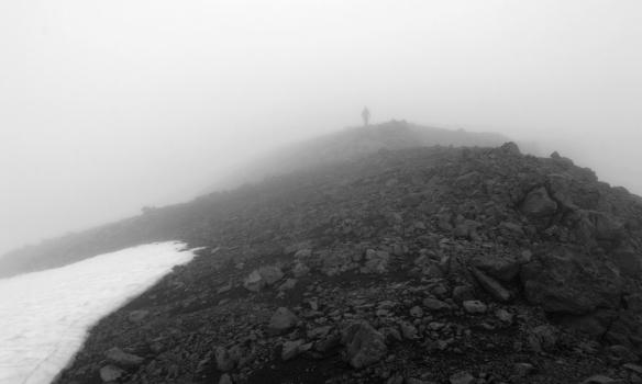 Þoka var þegar við gengum á Darra, sem er tæplega 700m hátt fjall milli Hlöðuvíkur og Hornvíkur.